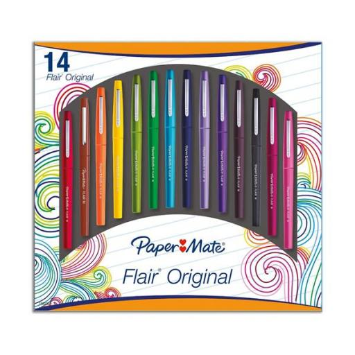 Paper Mate Flair Original Medium Felt Tip Pen 1.0mm Tip Width (Assorted Colours) Pack of 14 Ref 1920367