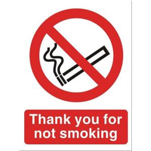Stewart Superior NS019 Self-Adhesive Vinyl Sign (150x200mm) - Thank You for Not Smoking