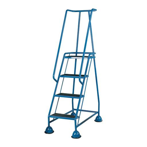 Mobile Steps on Retractable Castors Double Handrails Four Tread W580xD955xH1683mm Blue