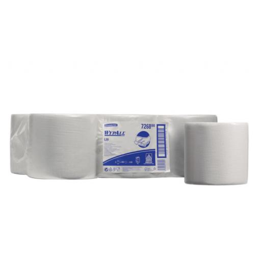 Wypall L20 Paper Wipers White Centre Feed (1 x Pack of 6 Rolls)