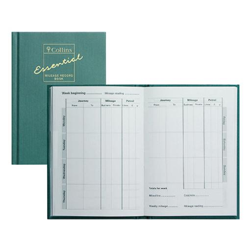 Collins Mileage Record Book 64 Pages 148x105mm Green Ref MRB1