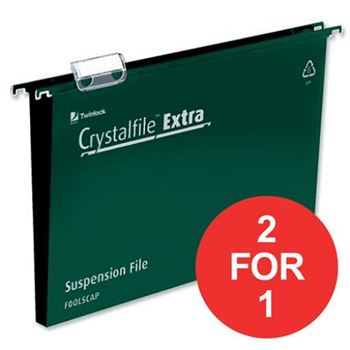 Rexel Crystalfile Extra Suspension File 30mm Foolscap Green Ref 70631 [Pack 25] [2 For 1] Apr-Jun 2018