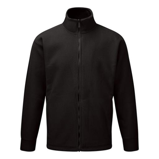Basic Fleece Jacket Elasticated Cuffs and Full Zip Front XL Black