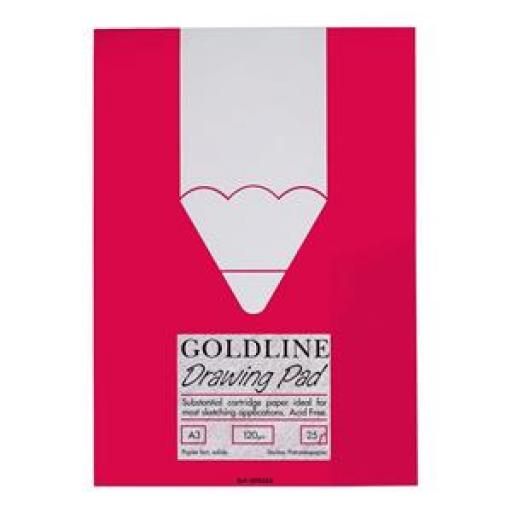 Goldline (A3) Standard Drawing Pad Acid-Free Cartridge Paper 120g/m2 25 Sheets (Single Pack)