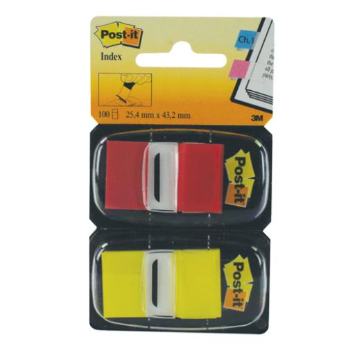 Post-it Index 1 Inch Dual Pack Red and Yellow (Pack of 100) 680-RY2