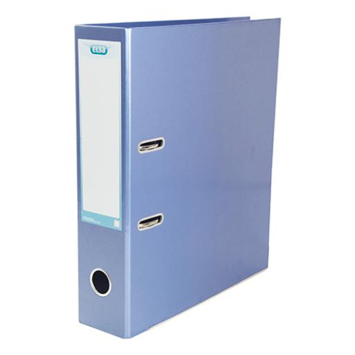 Elba Lever Arch File Laminated Gloss Finish 70mm Capacity A4+ Metallic Blue Ref 400021023
