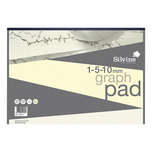 Silvine Designer Graph Pad 85gsm 1mm 5mm 10mm Grid 50 Sheets A3 Cream Wove Ref A3GPIVY [COMPETITION]