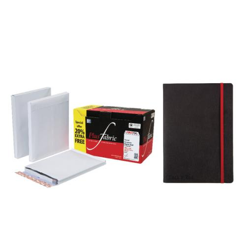 Plus Fabric Gusset C4 Envelopes White Peel and Seal 120gsm (Pack of 100 with free Notebook) JDC814003