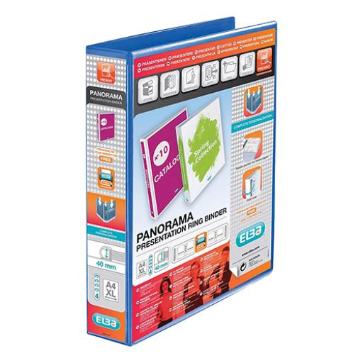 Elba Panorama Presentation Ring Binder PP 4 D-Ring 40mm Capacity A4 Blue Ref 400008418 [Pack 6]