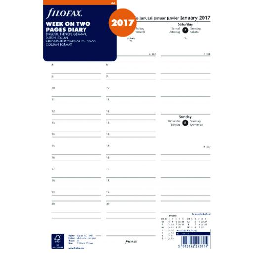 Filofax A4 Week to View Appointments 2017 Refill 17-68714