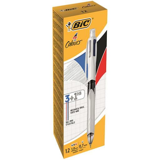 Bic 4 Colour Multifunction Ball Pen Medium with HB Pencil Black Blue Red Ink Ref 942104 [Pack 12]