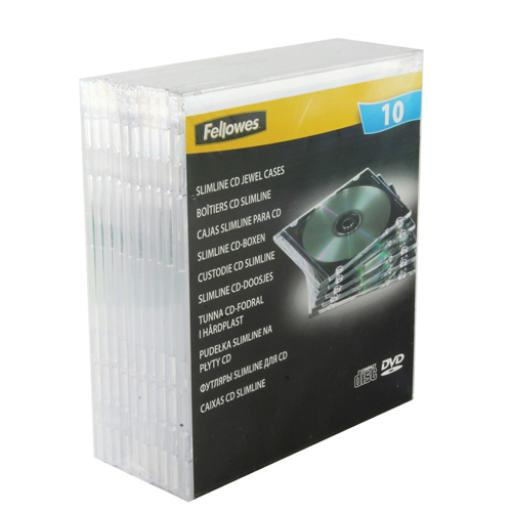 Fellowes Slimline CD Jewel Case (Pack of 10) Clear 9833801