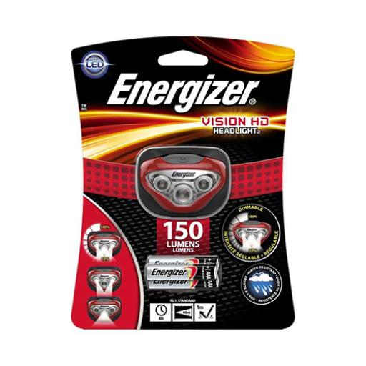 Energizer Vision HD Headlight 150 Lumens with 3 x AAA Alkaline Batteries (Red)