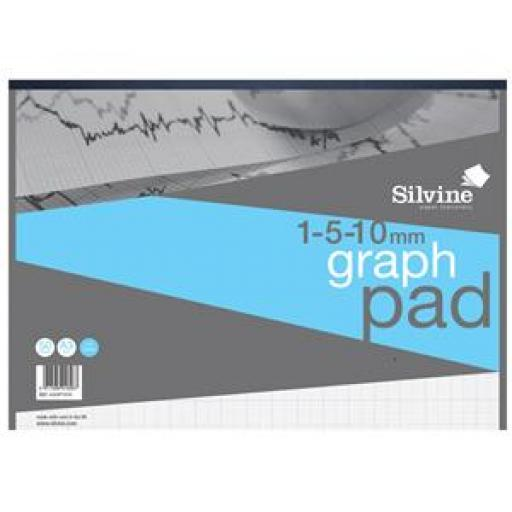 Silvine (A3) Student Graph Pad 30 Sheets 90gsm 1mm 5mm 10mm Grid White (Prize Draw) April-December 2016