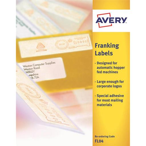 Avery Auto Franking Labels 1 per Sheet 140x38mm White Ref FL04 [1000 Labels]