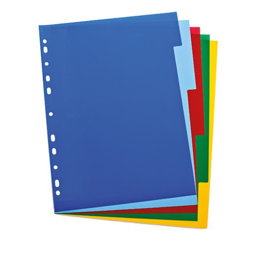 Elba Subject Dividers 5-Part Polypropylene Multipunched Coloured-Tabs 120 Micron A4 White Ref 100205075