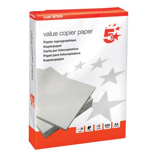 5 Star Value Copier Paper Multifunctional Single Ream-Wrapped A4 White [500 Sheets]