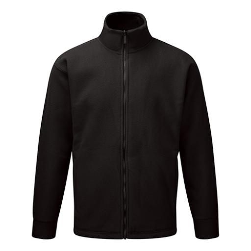 Basic Fleece Jacket Elasticated Cuffs and Full Zip Front 3XLarge Black