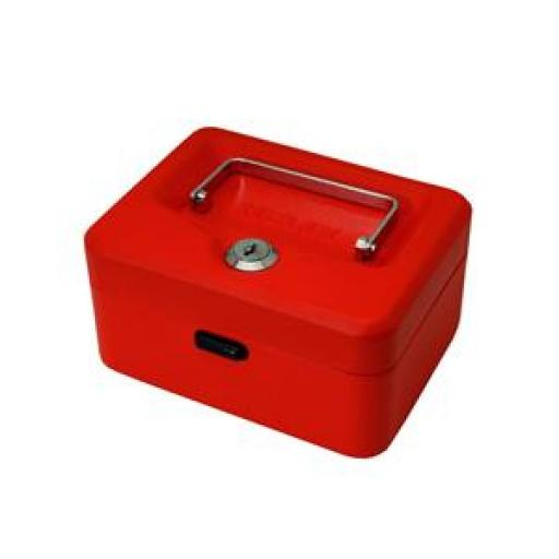 Cash Box (Red) with Simple Latch and 2 Keys plus Removable 15cm Coin Tray