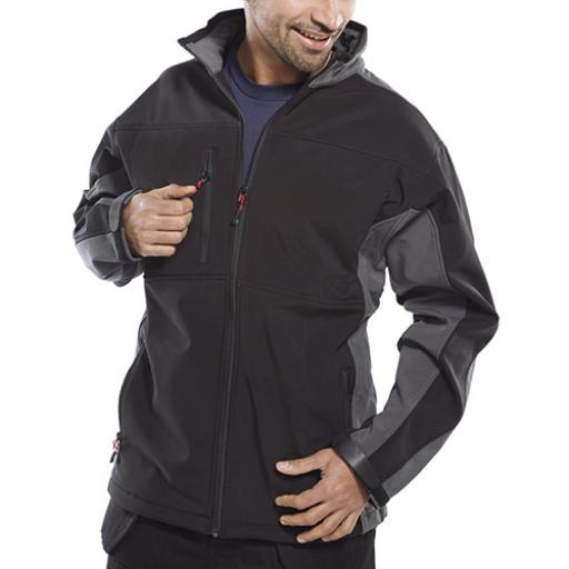 Click Workwear Two Tone Soft Shell Jacket Black/Grey M