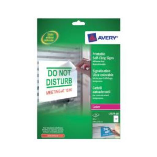 Avery L7079-10 Removable Self-Cling Signs (Pack of 20)