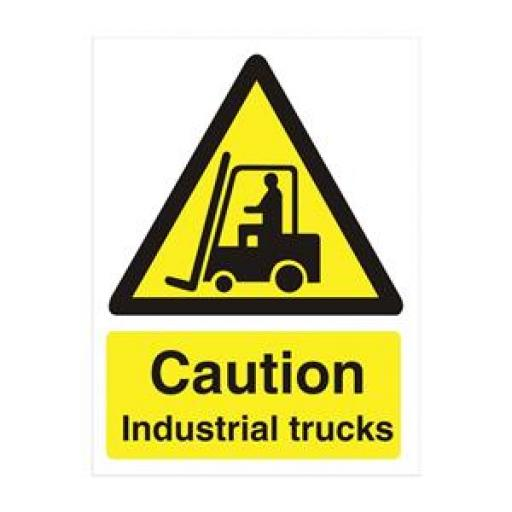 Stewart Superior WO135PVC Self-Adhesive Rigid PVC Sign (150x200mm) - Caution Industrial Trucks