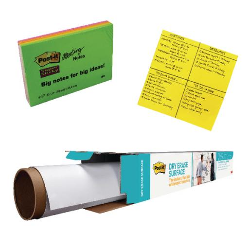 3m Postit Big Notes and Drywipe Roll 1829mm (Pack of 2) with Free SuperSticky Neon Notes 3M811284