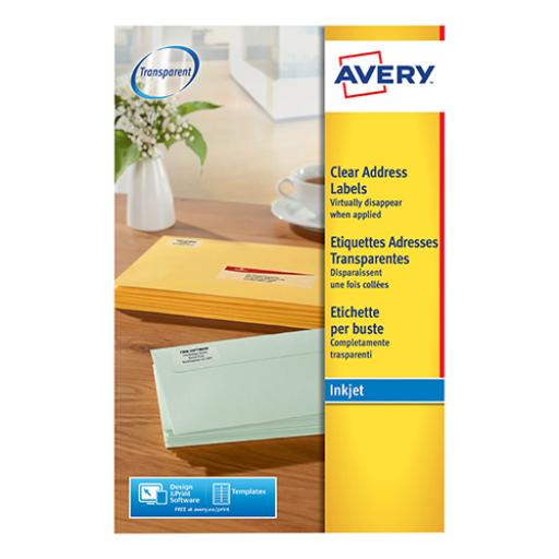 Avery Addressing Labels InkJet 14 per Sheet 99.1x38.1mm Clear Ref J8563-25 [350 Labels]