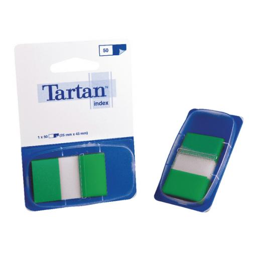 Tartan Index Tab Dispenser 25x43mm 50 Sheet Green 70005033504