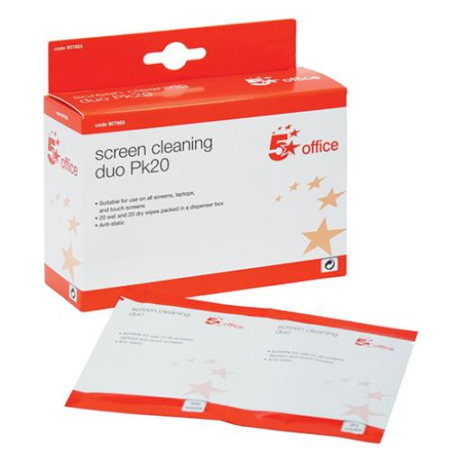 5 Star Office Screen Cleaning Duo Sachets of Wet and Dry Wipes [Pack 20x2 Wipes]