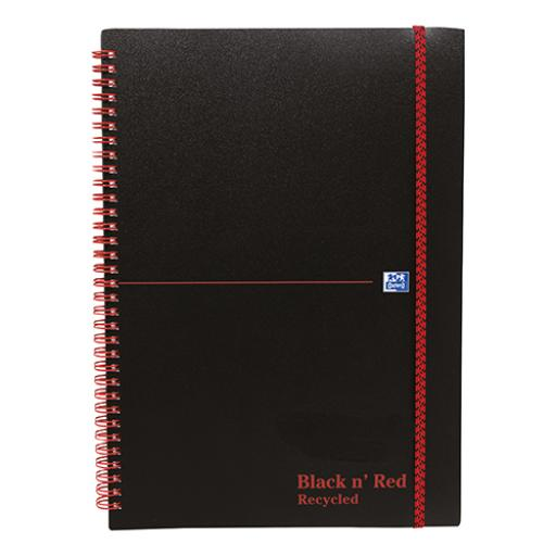 Black n Red Notebook Wirebound PP 90gsm Ruled Recycled and Perforated 140pp A5 Ref 100080221 [Pack 5]