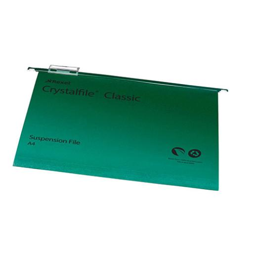 Rexel Crystalfile Classic Suspension File Manilla 15mm V-base 230gsm A4 Green Ref 78045 [Pack 50]