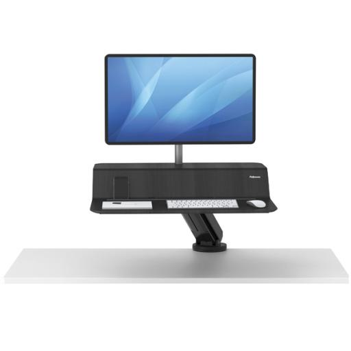 Fellowes Lotus Sit Stand Work Station Single Screen Black 8081701