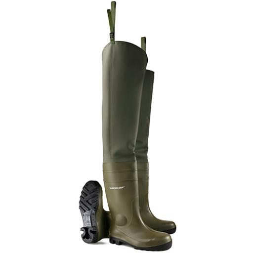 Dunlop Thigh Wader Full Safety Green 06