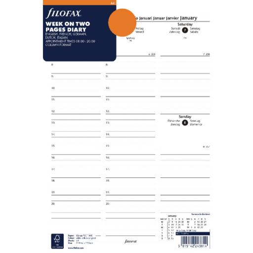 Filofax A4 Week to View Appointments 2018 Refill 18-68714