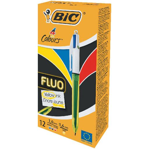 Bic 4 Colour Fluo Ball Pen 1.0 Tip 0.32mm Line Black Blue Red Yellow Ink Ref 933948 [Pack 12]