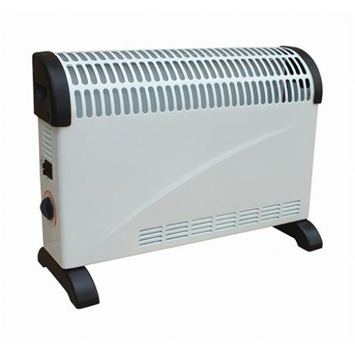 5 Star Facilities Convector Heater Electric 3 Heat Settings 750W/1250W/2000W White and Black