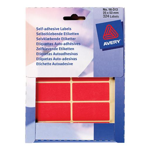 Avery Packet of Labels Rectangular 50x25mm 15 per Sheet Red Ref 16-313 [330 Labels]