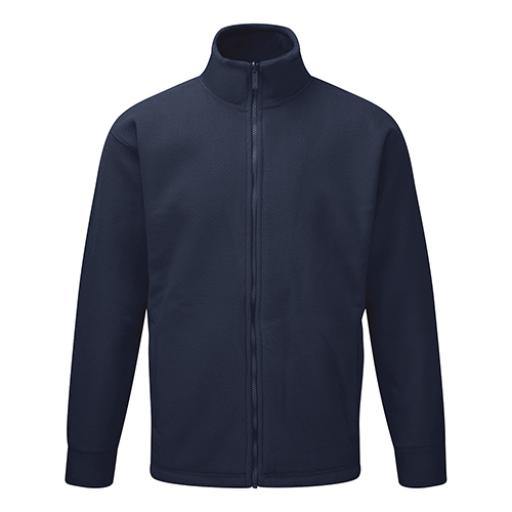 Basic Fleece Jacket Elasticated Cuffs and Full Zip Front Large Navy