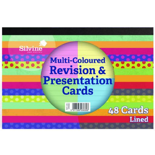 Silvine 48 Revision Notecard Pad Lined Multi-Coloured (Pack of 20) CR51