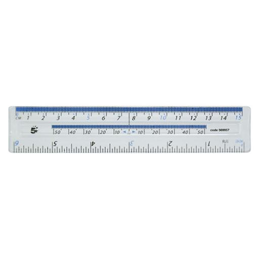5 Star Office Ruler Plastic Metric and Imperial Markings 150mm Clear