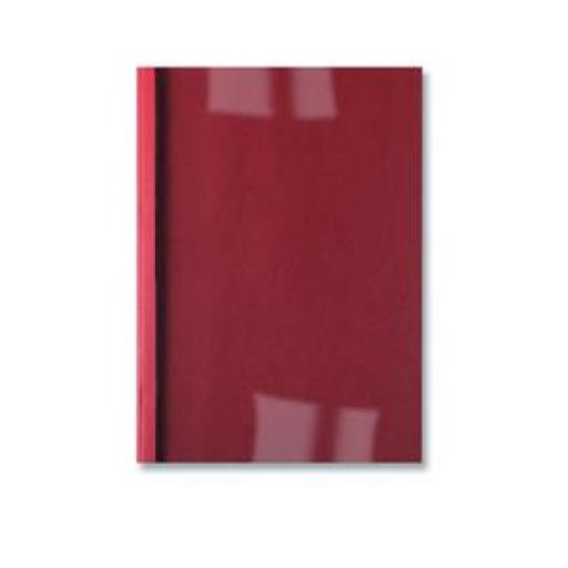 GBC (A4) Thermal Binding Covers 6mm Front PVC Clear Back Leathergrain (Red) - 1 x Pack of 100 Binding Covers