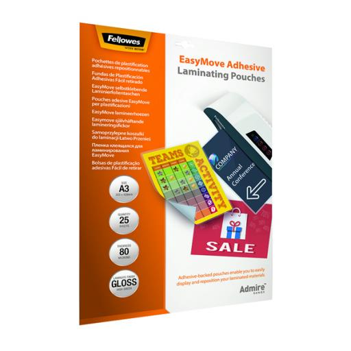 Fellowes Admire EasyMove Adhesive A3 Laminating Pouches 160 Micron (Pack of 25) 5601801