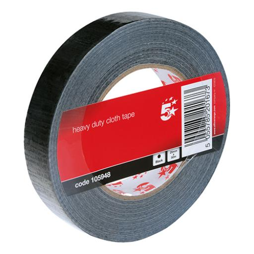 5 Star Office Cloth Tape Heavy-duty Waterproof Tearable Multisurface Roll 25mm x 50m Black