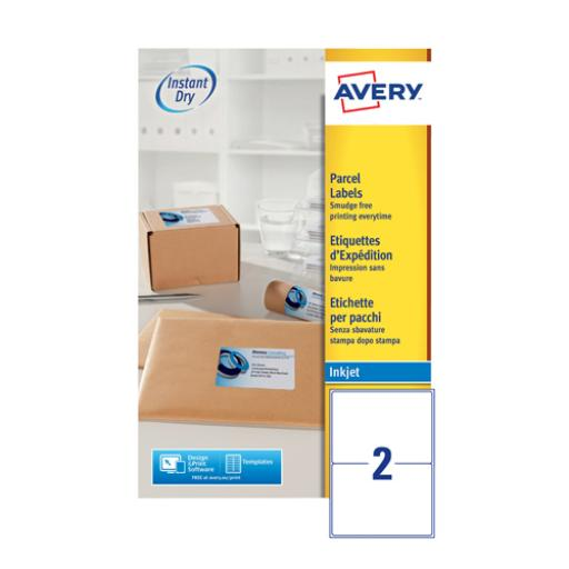 Avery QuickDRY White Inkjet Labels 199.6 x 143.5mm 2 Per Sheet Pack of 50 J8168-25