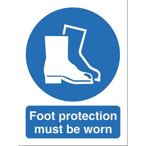 Stewart Superior Foot Protection Must Be Worn Sign W150xH200mm Self-adhesive Vinyl Ref M003SAV