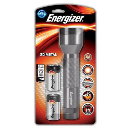 Energizer 2D METAL DIY Torch (Silver) with 2 x Type D Alkaline Batteries