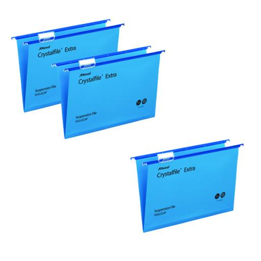 Rexel Crystalfile Foolscap Extra Std Susp File Blue (3 packs of 25) TW810097