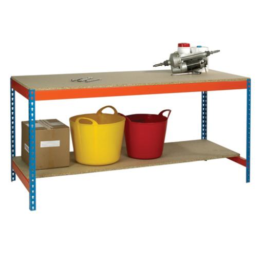 Blue and Orange Workbench With Lower Shelf L1800xW750xD900mm 378931