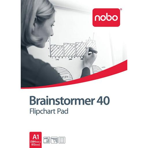 Nobo Brainstormer Flipchart Pad Perforated 40 Sheets 70gsm A1 Ruled Line Ref 34633719 [Pack 5]